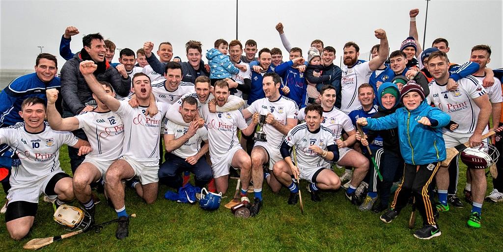 Mícheál Breathnach, Indreabhán, celebrating their victory as Connacht Junior Hurling champions after defeating Sligo's Naomh Eoin at Cloonacurry, Co Mayo Sunday. Pic Seán Ó Mainnín
