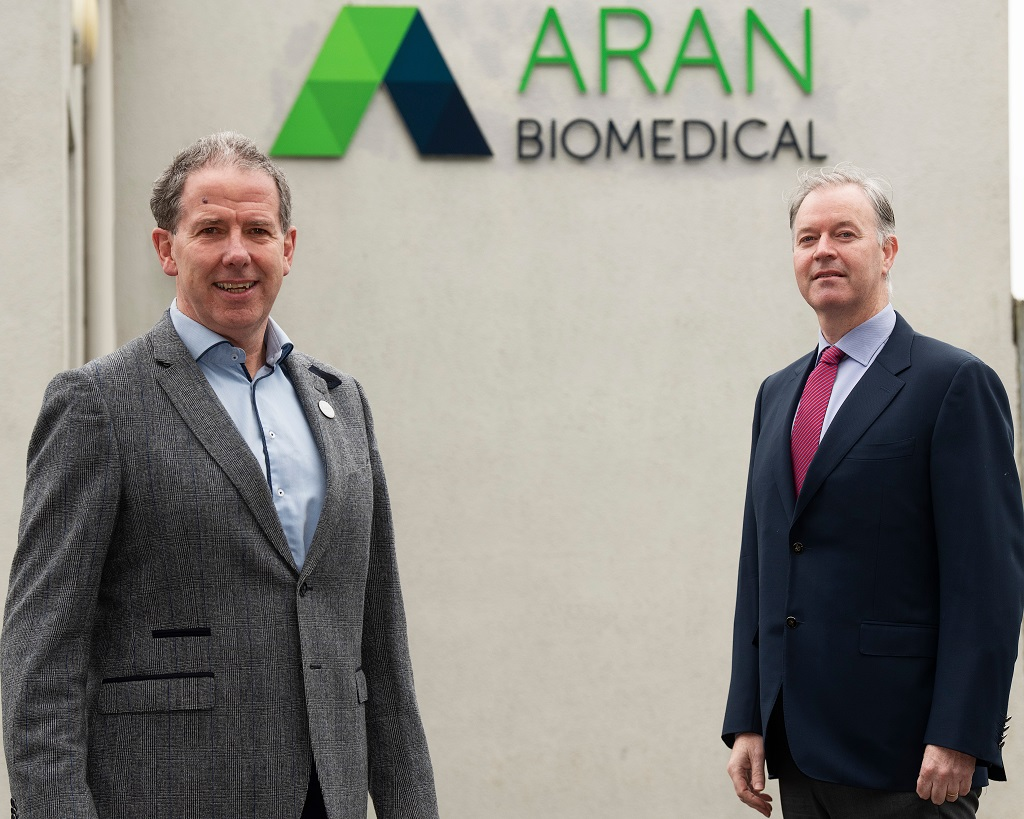 Aran Biomedical Expansion: Galway Implantable Device Manufacturer to create 150 New Jobs. Mark De Faoite Director of Enterprise, Employment and Property ⁄daras na Gaeltachta and Peter Mulrooney CEO Aran Biomedical CEO